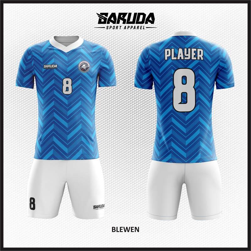 desain baju futsal biru putih