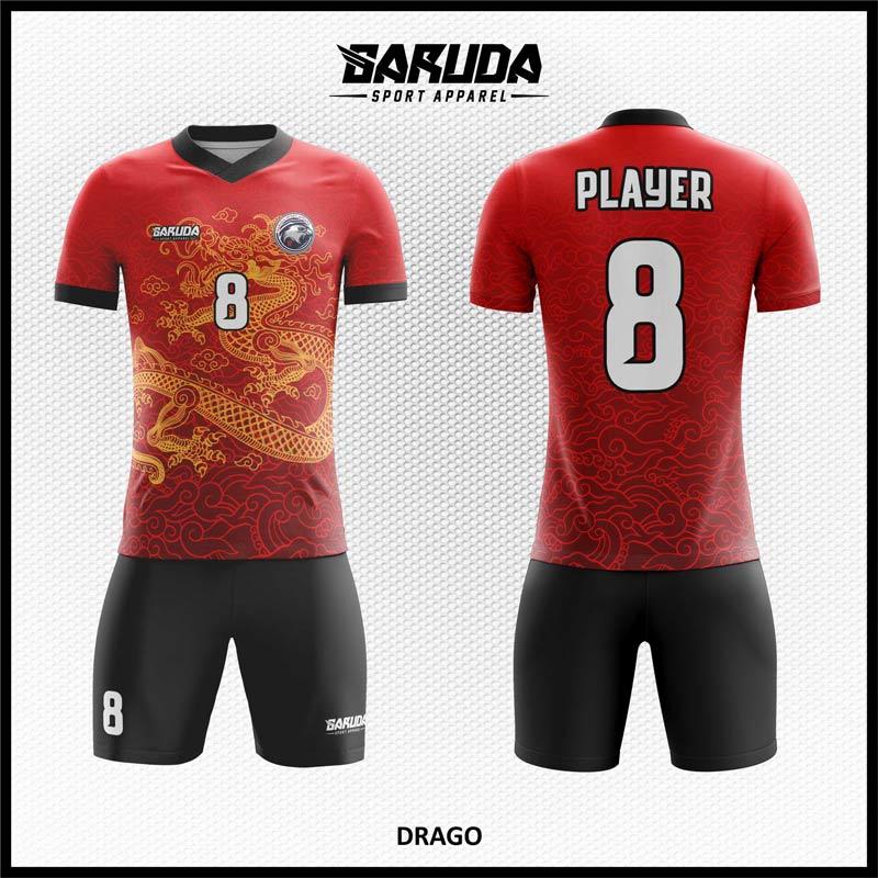 desain jersey futsal merah gambar naga