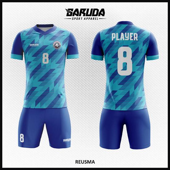 desain kaos futsal biru keren