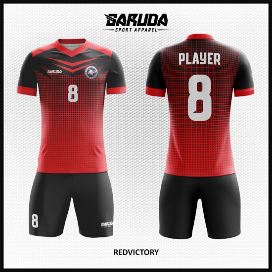 desain kaos futsal merah hitam keren